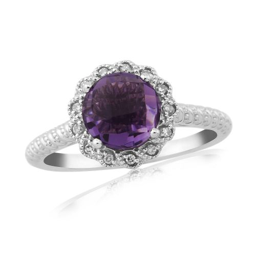 Round Cut Amethyst And Diamond 9 Carat White Gold Cluster Ring
